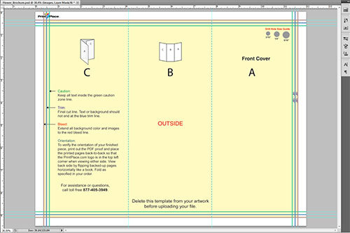 Image of layout guide opened in Photoshop with guide lines set to match layout guide's proof lines.