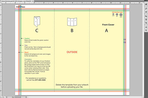 Image of layout guide opened in Photoshop.