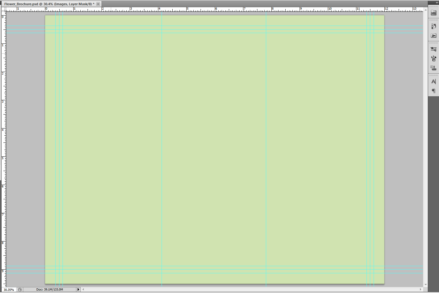 Image of brochure in progress, with solid background color covering canvas in light green.