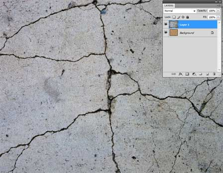 Image of cracked concrete imported into Photoshop as a new layer.